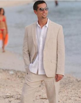 Summer Champagne Linen Men Suits 2 Buttons Beach Wedding Prom Tuxedos Groom Wear Latest Blazer Pant Designs Custom Made