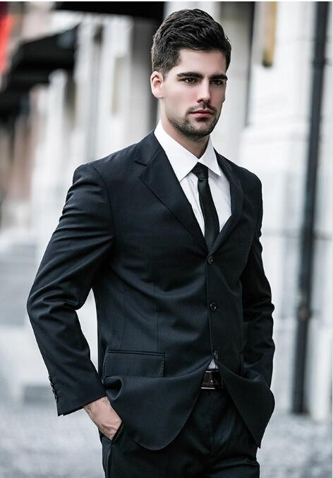 Custom Made Black Slim Fit Men Wedding Suite Groom Tuxedos Suits Herringbone Retro Gentleman Suits Formal Party Suits