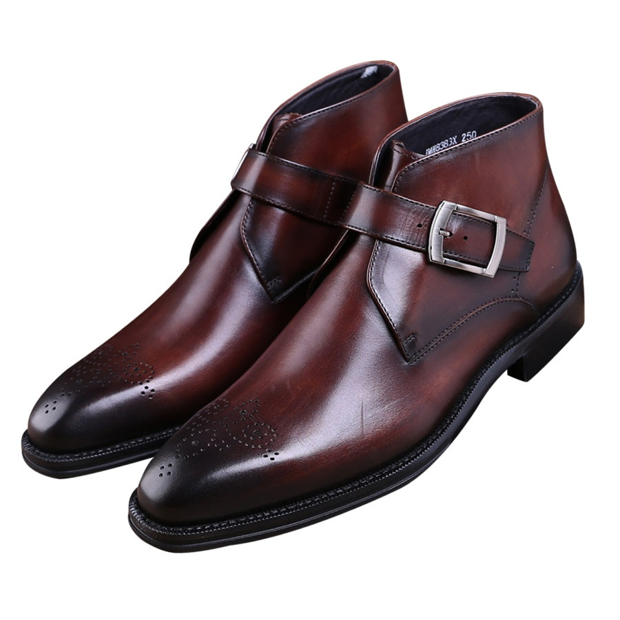 Fashion Goodyear Welt Shoes Brown Tan / Black Mens Ankle Boots Genuine Leather Boots Male Dress Shoes With Buckle