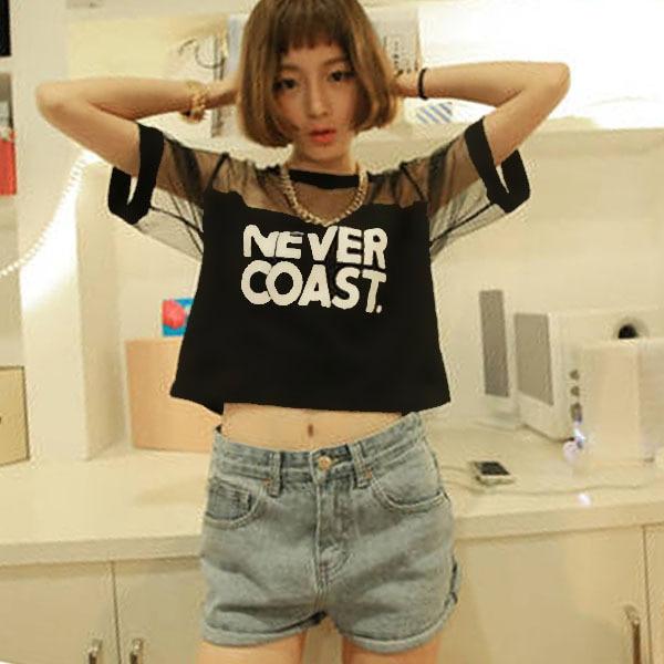 327acaabfec81 2019 Women T-Shirt Crop Top Shirt Sleeve Mesh See-through Short Tops For