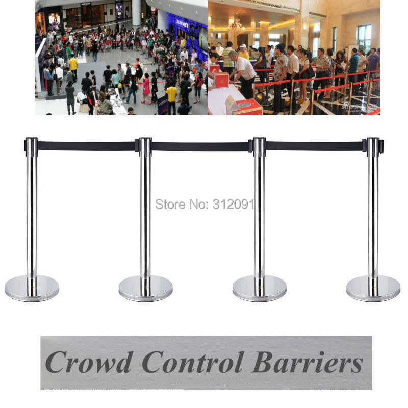 (Ship From EU) 4x Retractable Pedestrian Crowd Exhibition Display Barrier Steel Stanchions Belt Security