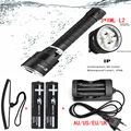 Underwater Diving diver Flashlight 6000LM 3xCREE XM-L2 LED Dive Torch Waterproof Flash Light Lantern+2x18650 Battery+Charger
