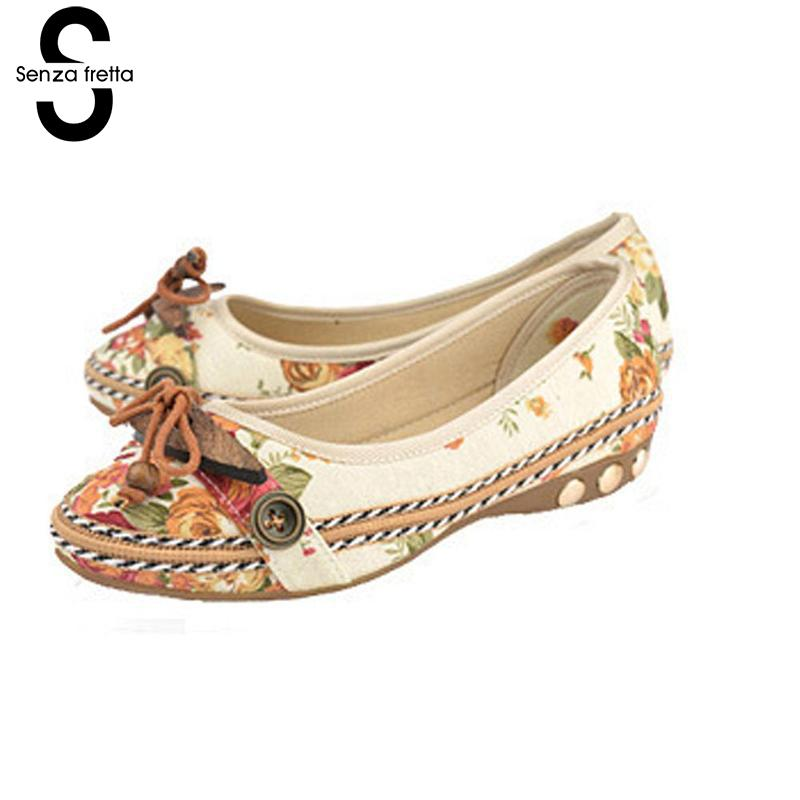 Senza Fretta Women's Shoes Lady Apartments Shoes Woman Sping Summer Casual Shoes Slippers Femme Ballet Dancers Ballerinas Shoes