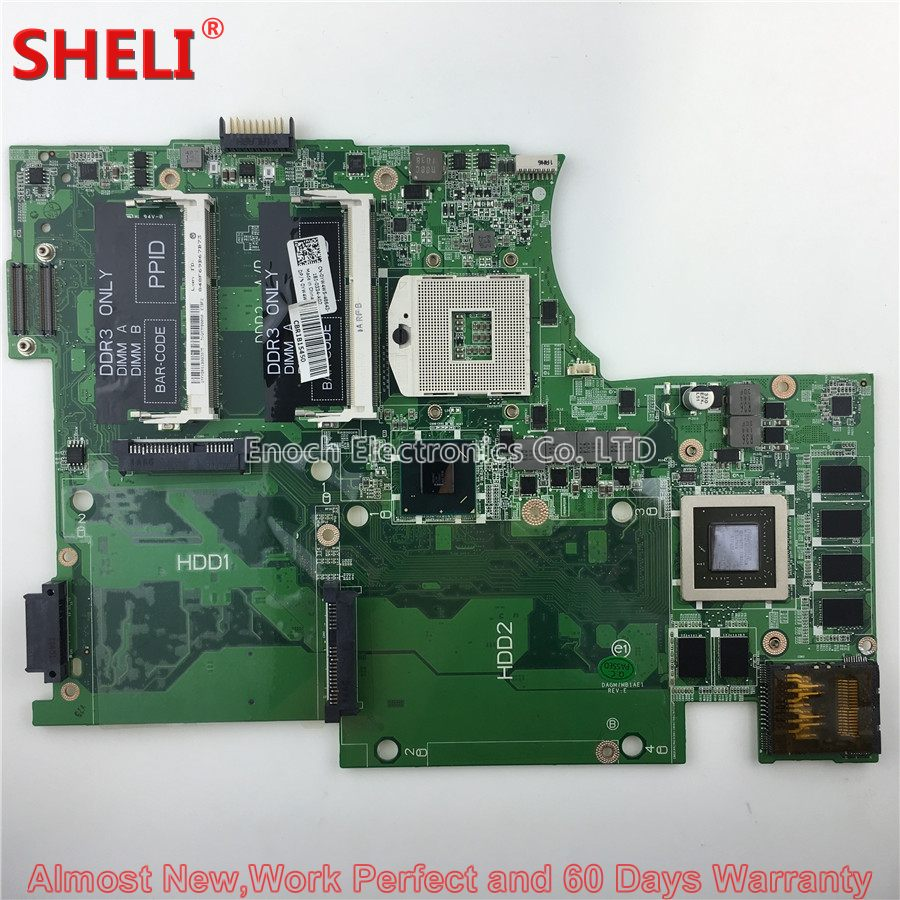 SHELI CN-0YW4W5 0YW4W5 YW4W5 Laptop Motherboard For Dell XPS 17 L702X DAGM7MB1AE1 GT555M System Board Main Board Work Perfect cn 0pu073 0pu073 suitable for dell xps m1330 laptop motherboard with g86 631 a2 upgrated graphic card