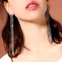 Модные новые ретро Кристальные цветы Многослойные кисточки длинные серебряные женские серьги женские Простые Ювелирные изделия pendientes mujer