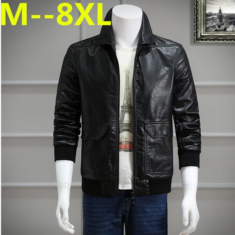 10XL 8XL 6XL Men Leather Jacket Genuine Real Sheep Goat skin Brand <font><b>Black</b></font> Male <font><b>Bomber</b></font> Motorcycle Biker Man