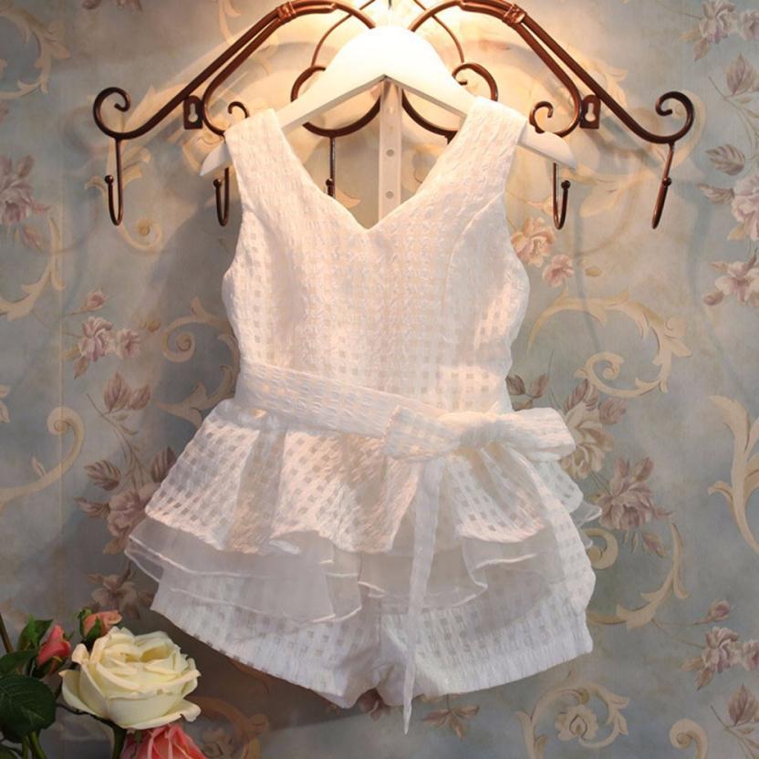 0911bfefca18 2017 Kids Girls Grid Sleeveless Top Vest Shorts Set Clothing BFOF