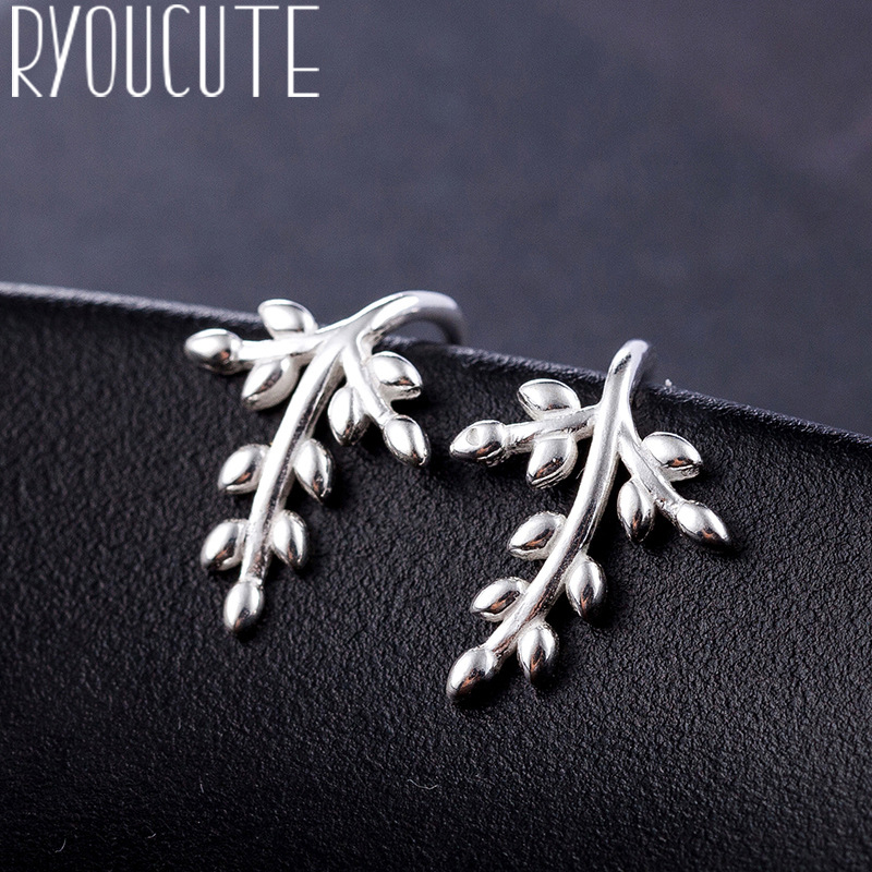 RYOUCUTE Real Silver Color  Leaf Earrings For Women Wedding Jewelry Korean Pure Silver Earring Pendientes Bijoux