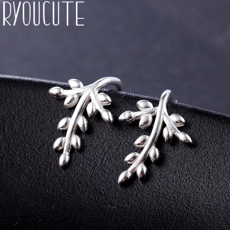 RYOUCUTE Real Silver Color  Leaf Earrings For Women Wedding Jewelry Korean Pure Silver Earring Pendientes Bijoux