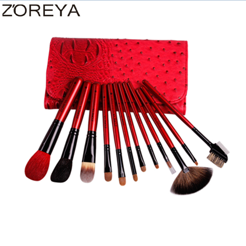 ZOREYA Brand 12pcs Sable Hair Makeup Brushes Professional Powder Foundation Eyeshadow Lip Brow Comb Brush