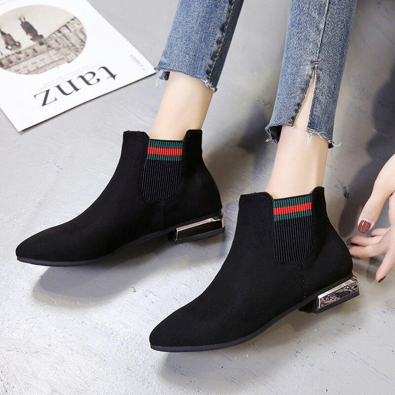 De Mujeres Salvaje Señaló Botas Coreana Martin Trabajo Fondo E Las Plano Zapatos Terciopelo Nuevo Negro Otoño Invierno Moda x6Zy4X