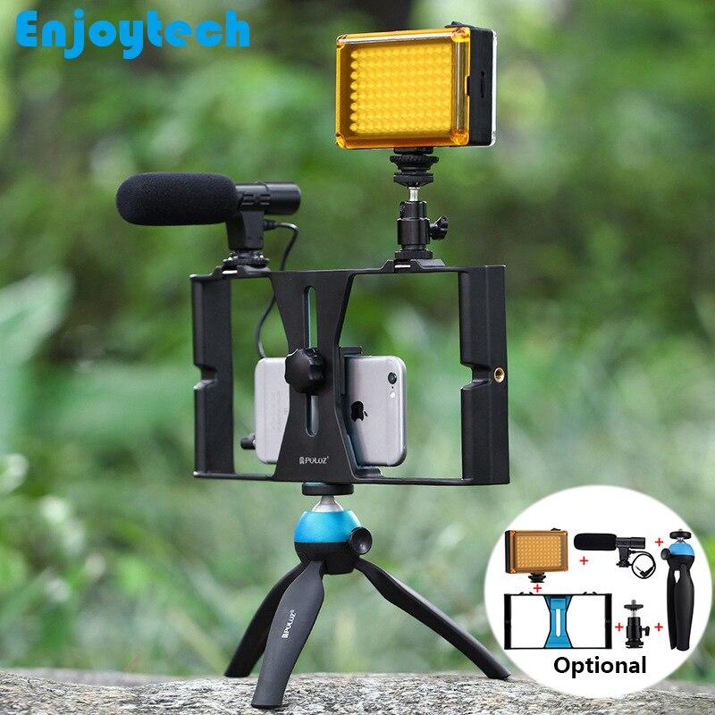 Estabilizador Handheld trípode Flash LED micrófono para Iphone teléfonos Android/grabación/fotografía soporte de Video en vivo Steadicam
