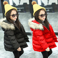 Free shipping  cotton-padded jacket slim waist hooded raccoon fur child girls clothing winter outerwear girls warm coat