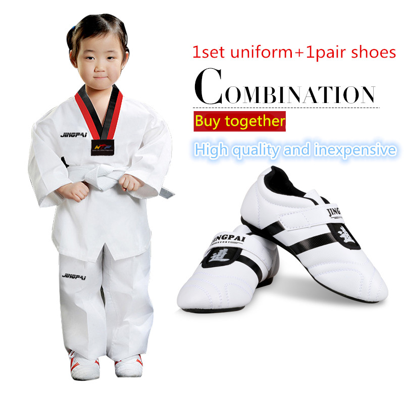 Child adult male taekwondo shoes + taekwondo dobok one set men women mooto WTF Approved Tae kwon do uniforms Sports sneaker