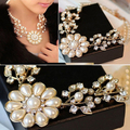 Fashion Vintage Women's Imitation Crystal Faux Pearl Flower Bid Choker Necklace For Wedding Party Cocktail --0783