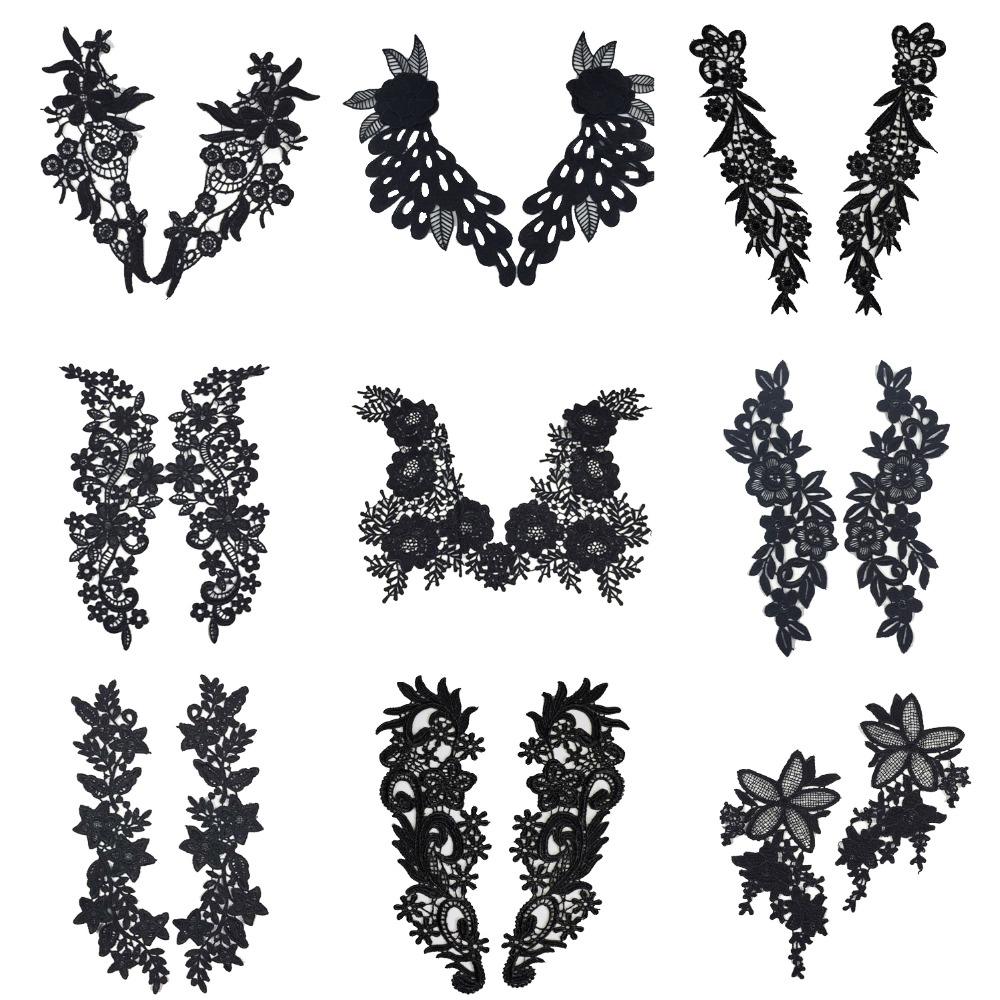 1 Set Embroidery Venise Black Rose Flower Lace Neckline Collar, DIY Collar Lace Fabrics For Sewing Crafts Patch Scrapbooking