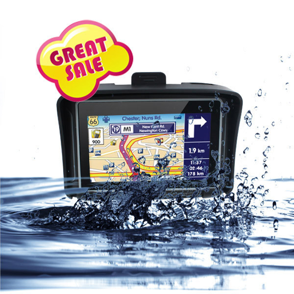 "TOP Sale 4.3"" Motorcycle gps navigation IPX65 Waterproof gps navigation FM+Bluetooth free map"