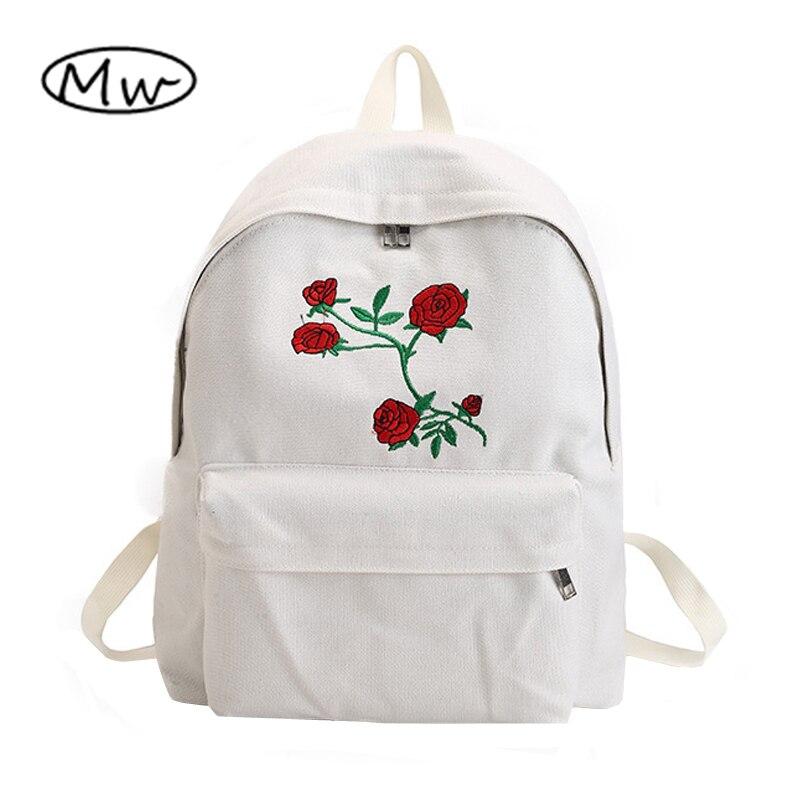Mond Holz Harajuku Rose Stickerei Rucksack Weiß Schwarz Frauen Reise Rucksack Studenten Leinwand Doppel Schulter Tasche Mochila M627