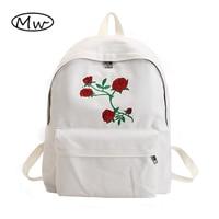 Moon Wood Harajuku Rose Embroidery Backpack White Black Women Travel Backpack Students Canvas Double Shoulder Bag Mochila M627