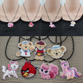 "[$5 minimum] 10 Style Fashion Girls Kids Gift Jewelry Cute Cat/Bear/Horse Pendant 17"" Short Rope Necklace Free Shipping KS00009"