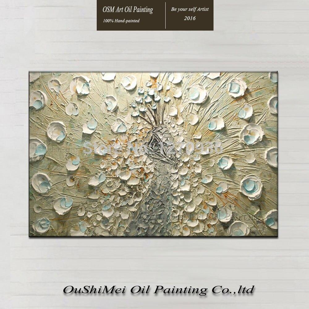 Fabriek Prijs Aanbieding Beste Kwaliteit Nieuw Ontwerp Art Handgemaakte Mes Pauw Olieverfschilderij voor Home Hotel Wanddecoratie