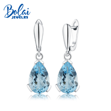 Bolaijewelry,925 Sterling silver solid clasp dangling  earring with natural sky blue topaz pear 10*15mm 12ct real gemstone lady