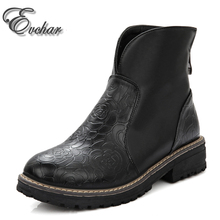 Fashion British Style Women's High Quality Ankle Boots Women Embossed Leather autumn Winter Boots Woman Shoes big size 34-43