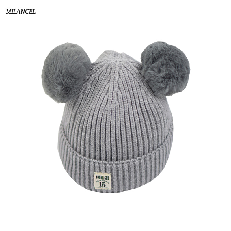 MILANCEL Baby Hat Toddler Infant Knitted Girls Boys Hat Solid Hat Baby Cute Beanie Cap Photo Props