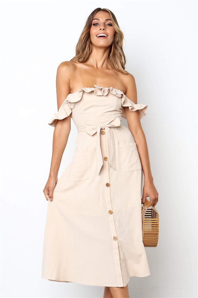Backless Sexy Women Summer Dress 19 Ruffles Off Shoulder Beach Dress Buttons Strapless Long Sundress Boho Midi Dress Ladies 30