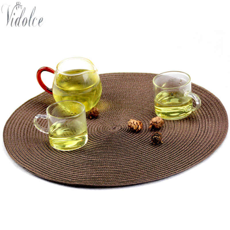 Round Table Placemats.6 Pcs Round Table Placemats 15 Inch Woven Dining Table Mat Kichen Home Table Placemat Bowl Cup Pad