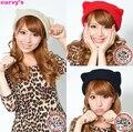Hatwinter orelhas de gato malha boina chapéus de tricô quente gorros mulheres inverno Caps 3 cores