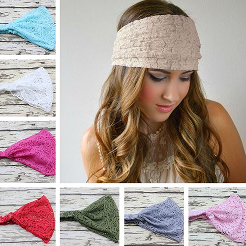 Women Fashion Bandanas Turban Lace Hollow Pattern Hair Band Wide