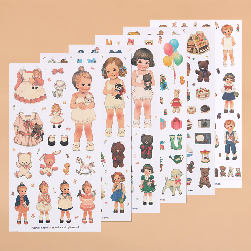 6PCS/Set Cute Girl Office Stickers Cartoon Animals Bear Bunny Stickers Kawaii Dolls Stationery Stickers