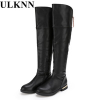 ULKNN Boots For Girls Genuine Leather Thigh High Boots Girls For Winter Kids Shoes Children S