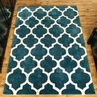 Moroccan Trellis Design Area Rug, blue traditional lattice living room carpet ,Modern Design Perfect for Any Floor