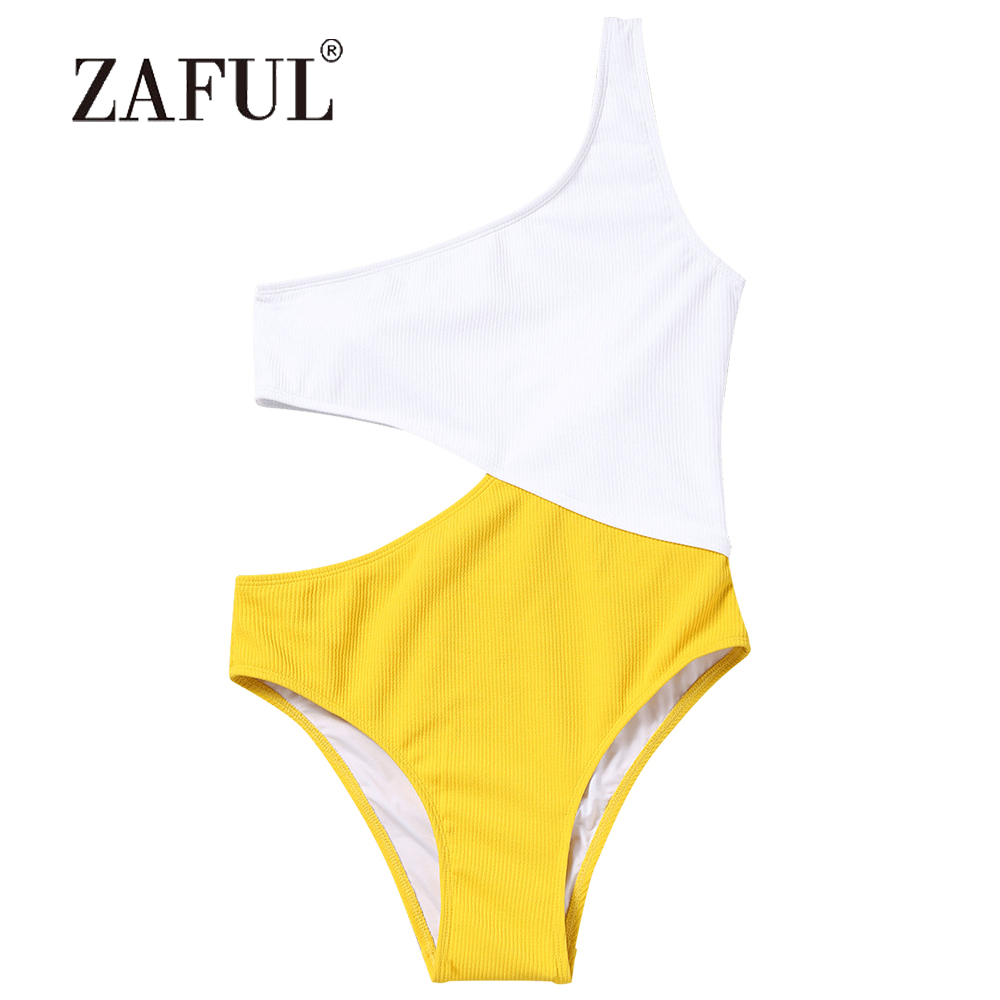 ZAFUL Women Swimsuit Ribbed Two Tone One Shoulder Swimsuit One Piece Patchwork Swimwear Sexy Padded White & Yellow Swimming Suit two tone drop shoulder sweatshirt