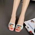 2016 Nuevo Diseñador de Moda de Lujo Mujeres Rhinestone Talón de Cuero Genuino Mujeres de la Marca Sandalia Tacones Altos Zapatos de Las Señoras