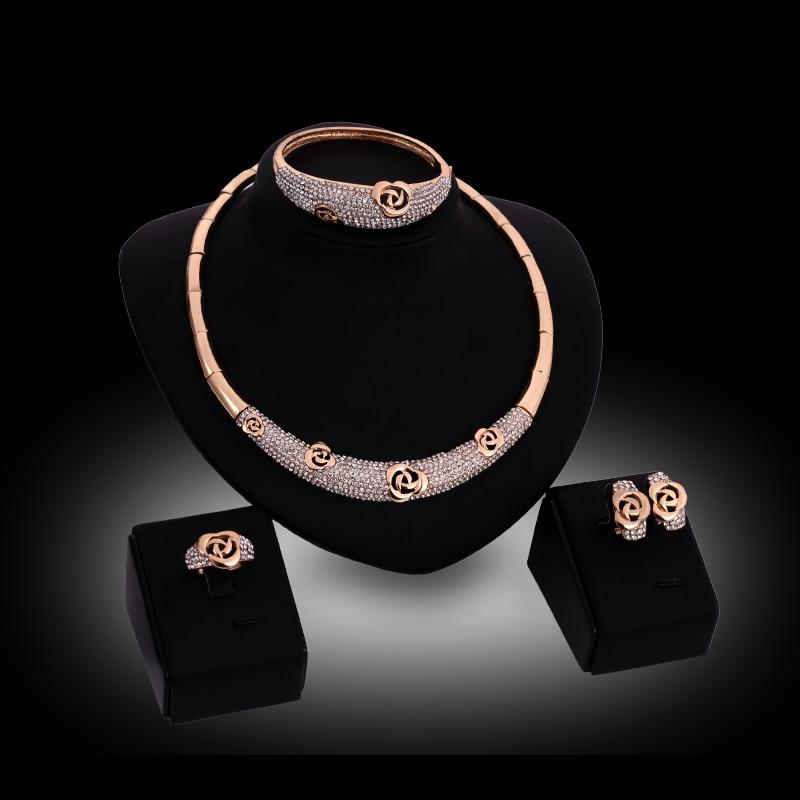 Fashion Wedding Jewelry Set Gold Color Full Rhinestone Necklace Bangle Ring Earrings Party Set