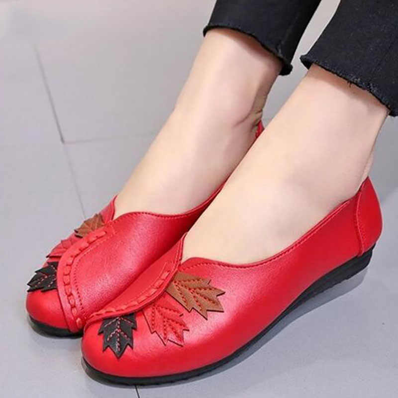 2019 Soft Vrouwen Flats Mocassins Slip Op Instappers Vrouwen Echt Lederen Ballet Schoenen Mode Casual Schoenen Schoenen Vrouwelijke Schoenen