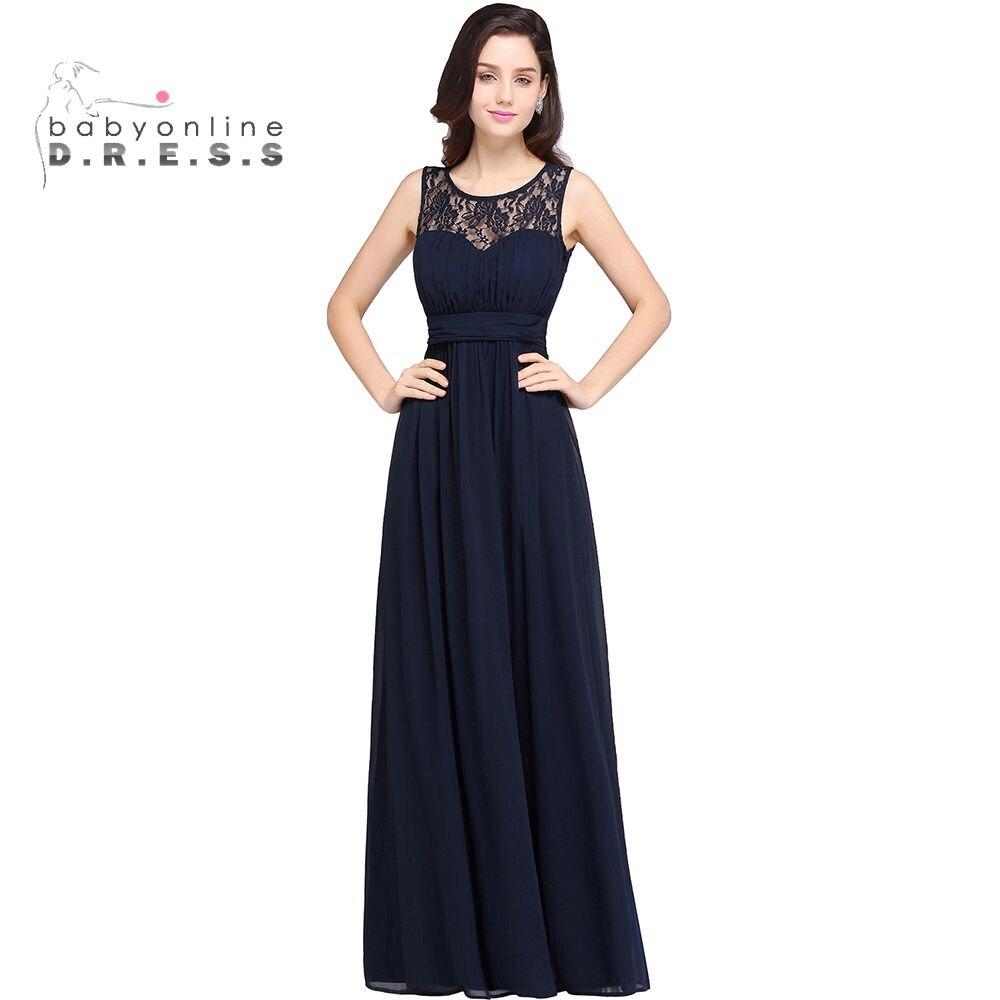 Robe Demoiselle D honneur Cheap Navy Blue Lace Chiffon Long Bridesmaid Dresses Sexy Sheer Burgundy Red