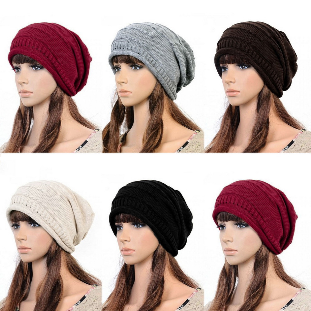 New New Women Ladies Unisex Winter Knit Plicate Slouch Cap Hat Knitted Baggy Beanies Casual 4 colors Hot