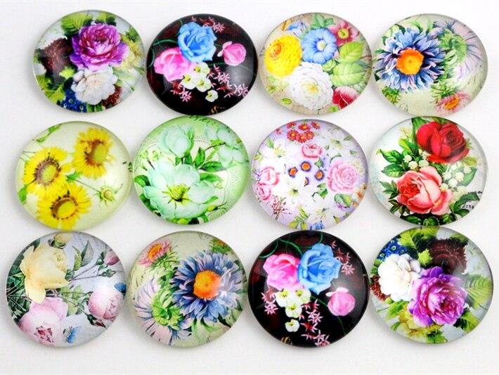 10 шт. 20 мм и 25 мм новые модные бусины в форме цветов ручной работы фотокабельные кабошоны узор куполообразные ювелирные изделия аксессуары поставки