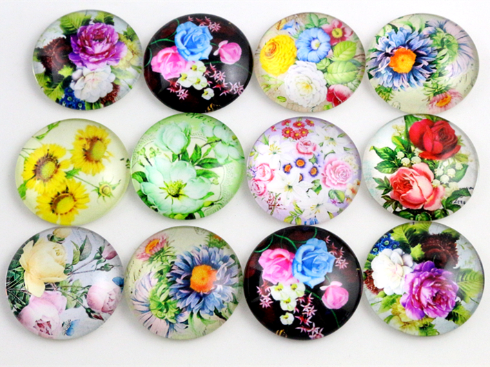 10pcs 20mm And 25mm New Fashion Flower Mixed Handmade Photo Glass Cabochons Pattern Domed Jewelry Accessories Supplies