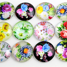 10pcs 20mm And 25mm New Fashion Flower Mixed Handmade Photo Glass Cabochons Pattern Domed