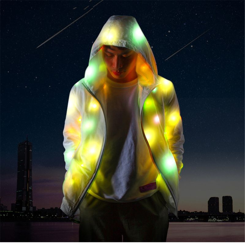 LED Jacket Light Up Outwear Stage Costume Full Focus Night Running Motorcycles Cycling Clothings Bar Pub