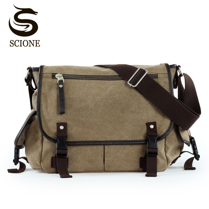 Canvas Men Shoulder Bag Casual Vintage Style Male Crossbody Bag Mens Messenger Handbag Large Travel Bags bolsos hombre bandolera casual canvas satchel men sling bag