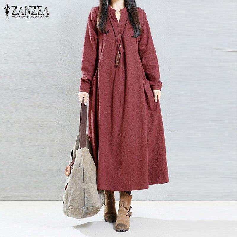 b1fd2b9a0 2018 ZANZEA المرأة اللباس أزياء الخريف عارضة فضفاض الصلبة اللباس مثير  السيدات V الرقبة فستان بكم طويل Vestidos زائد حجم S-5XL