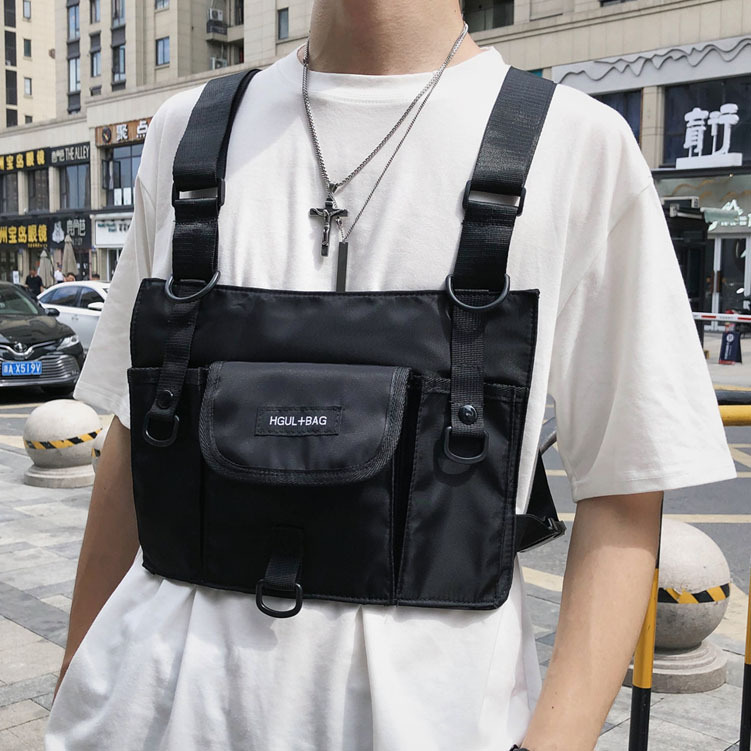 Tático Colete Masculino Função Peito Bolsa Náilon Impermeável Streetwear Frente Pacote Kanye West Rig Hip Hop