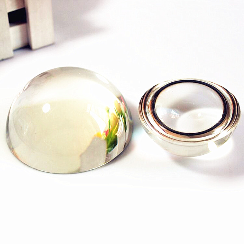 2PCS Clear Half Sphere Crystal Ball Paperweight Magnifying Glass Decor 40MM