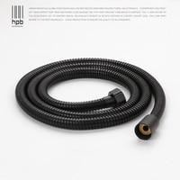 HPB 1.5M G1/2 Stainless Steel Plumbing Hose Tube For Bathroom Handheld Shower Hand Hold Shower Pipe Black Color H7102